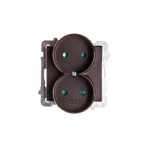 Gniazdo podwójne sonata gp-2rp/40 z przesłonami torów prądowych czekoladowy metalik marki Ospel