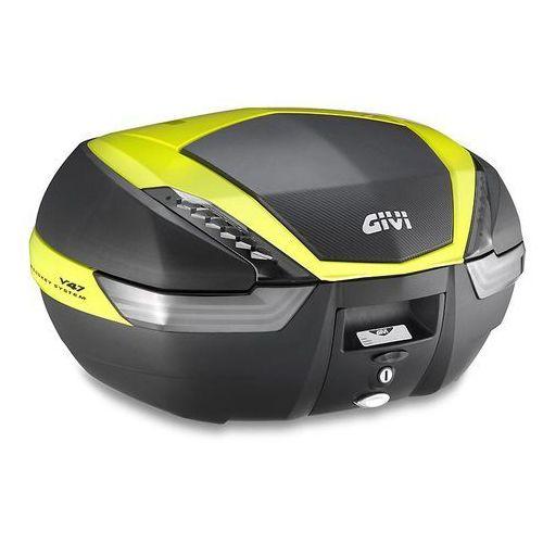 Kufer v47nntfl (czarny, 47 litrów, szare odblaski, pokrywa karbonowa, dodatki żółte) marki Givi