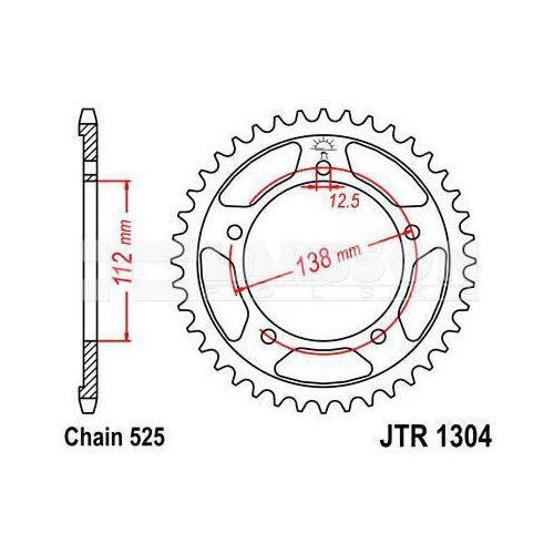 Zębatka tylna stalowa JT 1304-42, 42Z, rozmiar 525 2300747 Honda CB 600, XL 1000