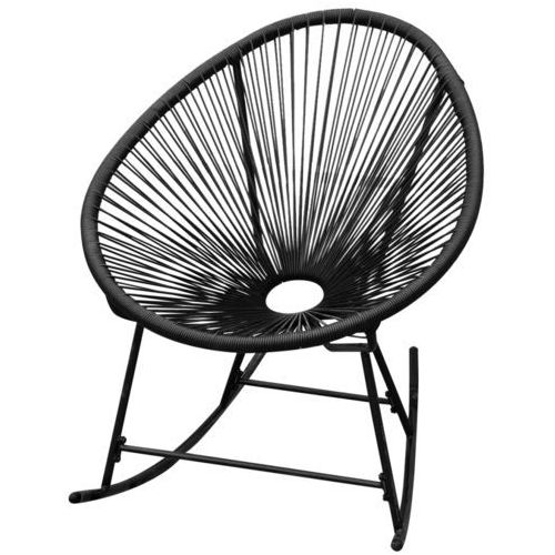 vidaXL Fotel bujany ogrodowy, polirattan, czarny