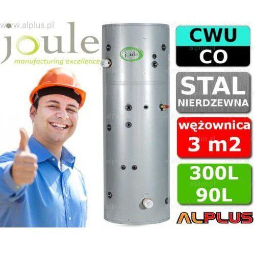 JOULE CYCLONE do pompy ciepła 300L / 90L TANK-ON-TANK nierdzewny zbiornik na zbiorniku, bojler 300 litrów z wężownicą do pompy ciepła 3,0m2 i buforem 90 litrów, aż 2 grzałki 3kW, 215cm x 60cm, wysyłka gratis, TCLMVJ-30090FC