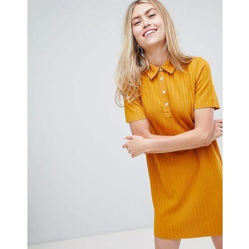 ribbed collared dress in mustard - yellow, Bershka, 34-40