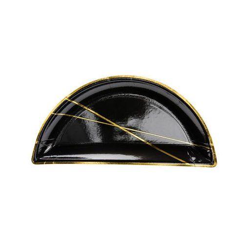 Talerzyki czarne ze złotym wzorem - 21,5 cm - 6 szt. marki Party deco