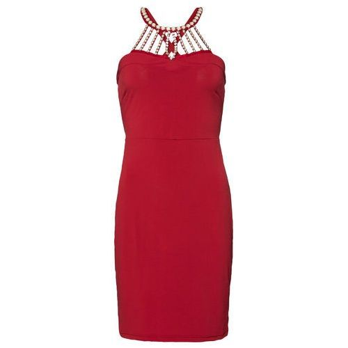 Sukienka wieczorowa z perłami czerwony chili, Bonprix, 36-50