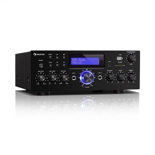 Auna amp-5 bt, wzmacniacz hi-fi, 2 x 50 w rms, bluetooth, 2 x wejście mikrofonowe, czarny (4060656228025)