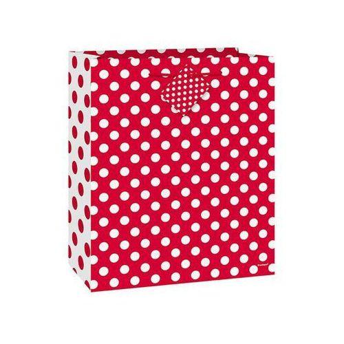 Unique Torebka prezentowa czerwona w białe kropeczki 18x23 cm - 1 szt.