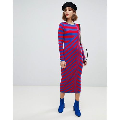 8eea59691e Asos design knitted dress in cut about stripe - multi