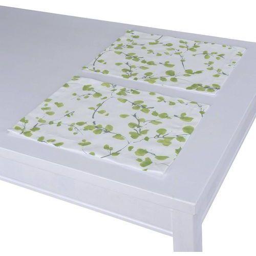 podkładka 2 sztuki, zielone listki na białym tle, 40 x 30 cm, aquarelle marki Dekoria