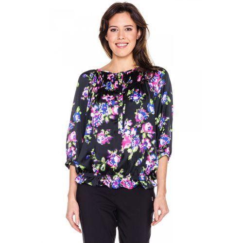 Bluzka w graficzne kwiaty ze ściągaczem -  marki Duet woman