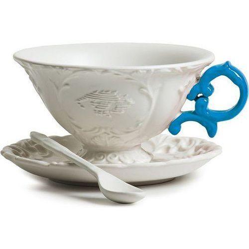 Filiżanka do herbaty ze spodkiem i łyżeczką i-tea niebieska marki Seletti