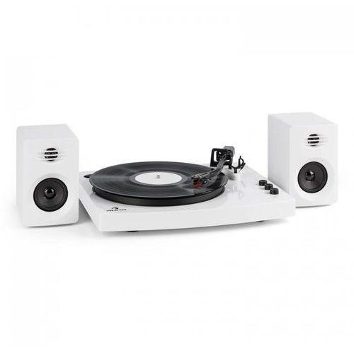 """Auna Tt-play gramofon 2 kolumny stereo (3""""/10 w) bt 33 1/3 & 45 obr./min biały"""