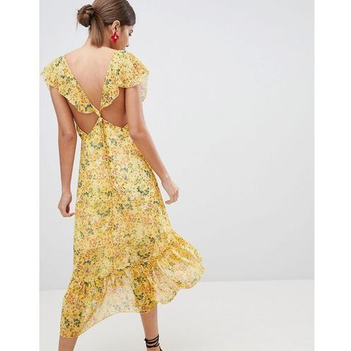 PrettyLittleThing Floral Tie Back Midi Dress - Yellow