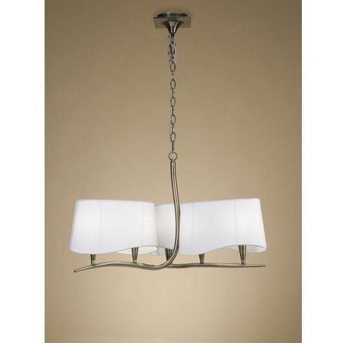 lampa wisząca NINETTE 6L antyczny mosiądz - kremowe klosze, MANTRA 1920