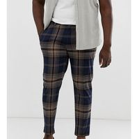 big & tall skinny fit trousers in navy check - navy, River island