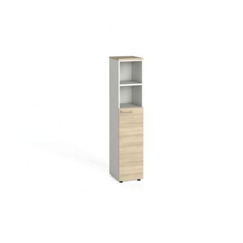 Szafa biurowa, drzwi na 3 półki, 1781x400x420 mm, biały / dąb naturalny