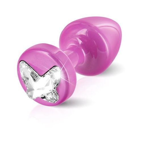 Zdobiony plug analny - Diogol Anni R Butt Plug Butterfly Pink 25 mm Motyl Różowy