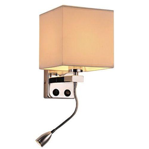 Boho lampa kinkiet 1x40w e27 + 2w led chrom abaż. kwadratowy beżowy 17 cm marki Candellux