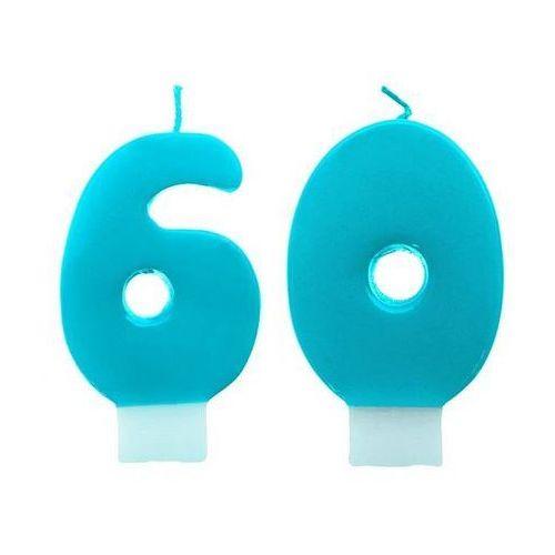 Świeczki cyferki turkusowe - 60 - sześćdziesiątka - 2 szt.