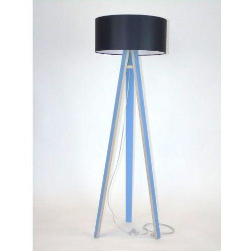 Lampa stojąca na trzech nogach drewniana z abażurem RAGABA WANDA - niebieska/czarny abażur, uniw-RAGABALP220
