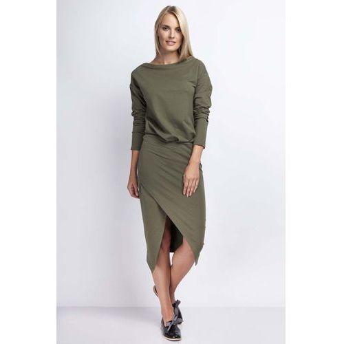 Khaki Casualowa Midi Sukienka z Kopertowym Dołem, kolor zielony