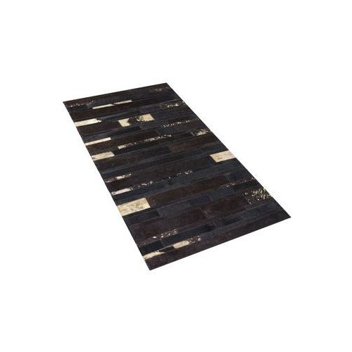 Beliani Dywan - brązowo - złoty - skóra - patchwork - 80x150 cm - artvin