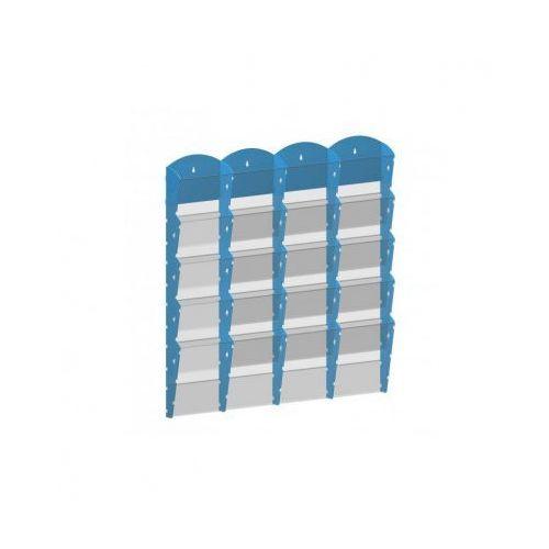 Plastikowy uchwyt ścienny na ulotki - 4x5 A4, niebieski
