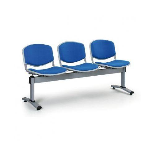 Ławka do poczekalni livorno, tapicerowana 3 siedzenia, niebieski marki Euroseat