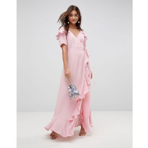 short sleeve ruffle wrap maxi dress - pink marki Asos
