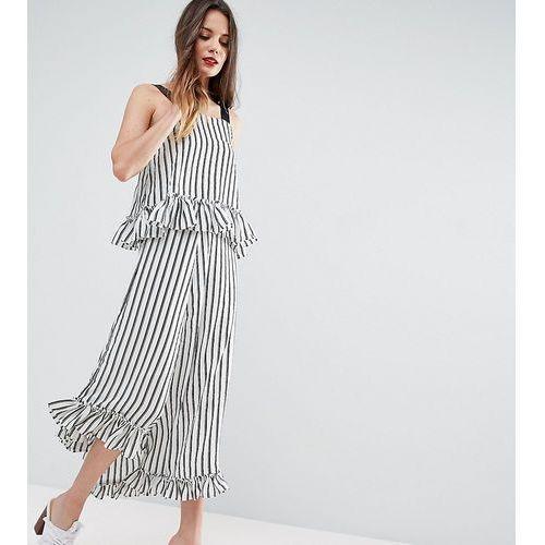 maxi dress with ruffle detail & grosgrain straps in mono stripe - multi marki Asos tall
