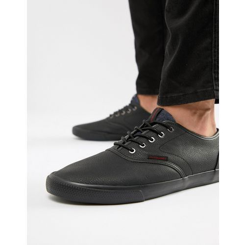 Jack & Jones Plimsolls In Black On Black - Black