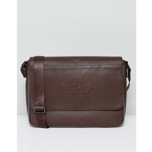 Ted Baker Embossed Messenger Bag in Brown - Brown
