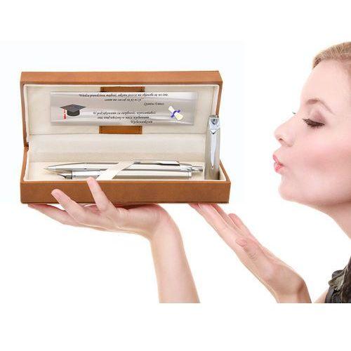 Zestaw Parker BRUSHED CT Pióro Długopis GRAWER Tabliczka z dedykacją Gratis