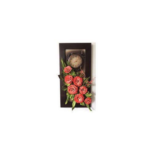 Art deco Nowoczesny obraz ze skóry z czerwonymi różami w wąskiej ramie - k4z-12