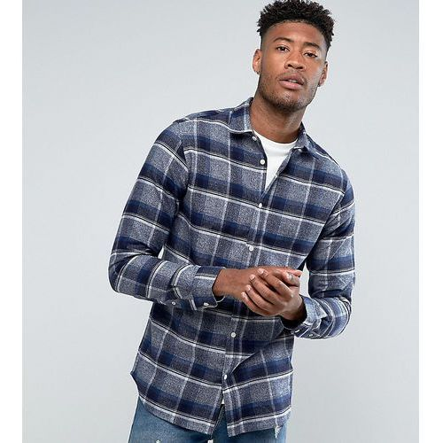 Selected homme tall regular fit shirt in brushed check flanel - navy