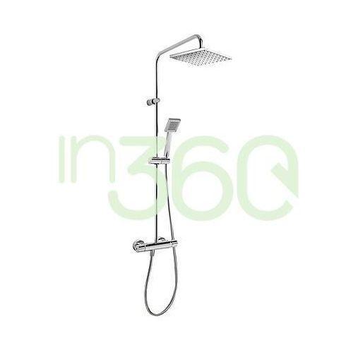flat kompletny zestaw prysznicowy natynkowy termostatyczny deszczownica 200x200 mm chrom 20438702 marki Tres