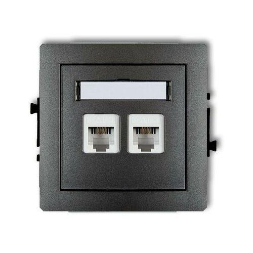 Gniazdo podwójne telefoniczne RJ11 11DGT-2, grafitowy KARLIK DECO (5903418064693)