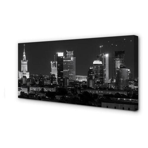 Obrazy na płótnie Warszawa Panorama noc wieżowce
