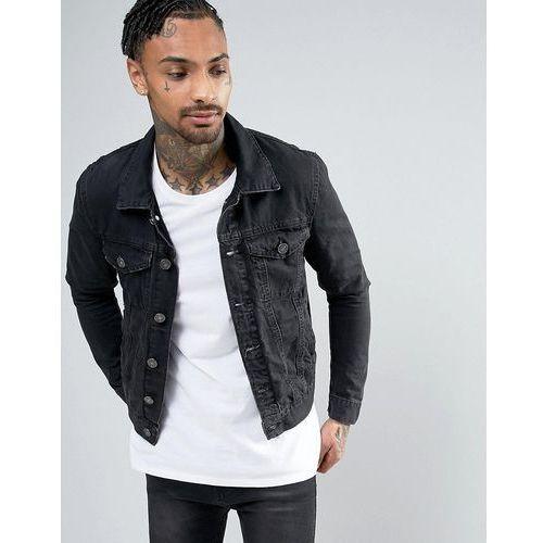 River Island Denim Jacket With Inside Print In Washed Black - Black