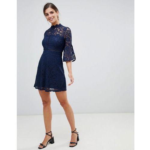 QED London 3/4 Sleeve Lace Dress - Navy, kolor niebieski