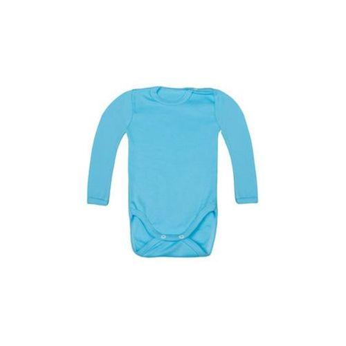 Body dziecięce z długim rękawem (bez nadruku, gładkie) - niebieskie, 10931