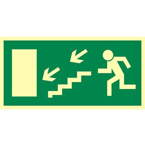 Kierunek do wyjścia drogi ewakuacyjnej schodami w dół w lewo (znak uzupełniający) marki Top design
