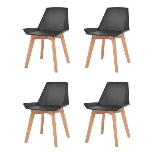 komplet 4 krzeseł, drewniane nogi i czarne, plastikowe siedziska marki Vidaxl