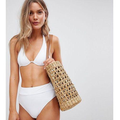 South beach mix and match white high waist high leg bikini bottom - white