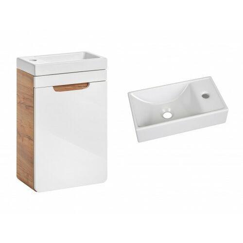 COMAD szafka Aruba White 40 1D dąb craft złoty/biały połysk + umywalka Vedea 40 ARUBA 826 + UM-VEDEA 40