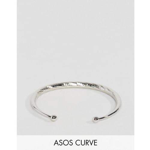 Asos curve  exclusive graduated faceted ball cuff bracelet - silver