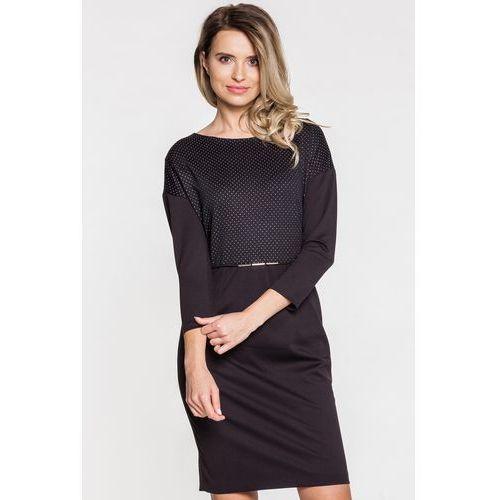 Czarna sukienka wizytowa ze srebrną aplikacją w drobne kropki - Vito Vergelis, 1 rozmiar