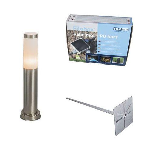 Lampa zewnętrzna rox 45 cm stal z klinem ziemnym i mufą kablową marki Qazqa