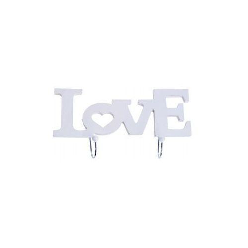 Wieszak Love drewno biały - 25x4x13,5 cm