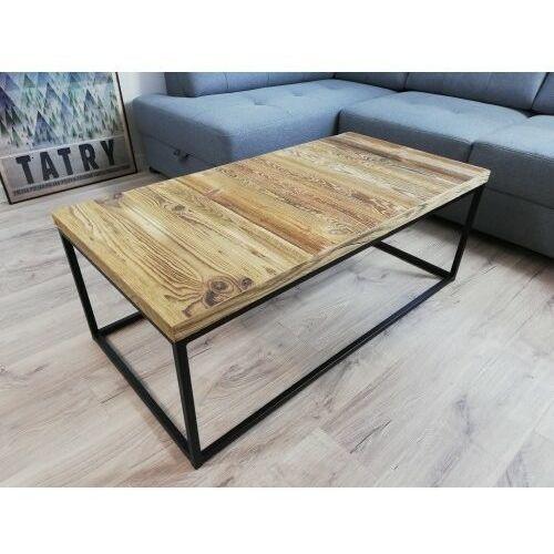 Stolik prostokątny industrialny czarny STILO3 Stare drewno szczotkowane
