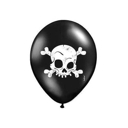 Party deco Balony czarne - czaszka - 37 cm - 5 szt.